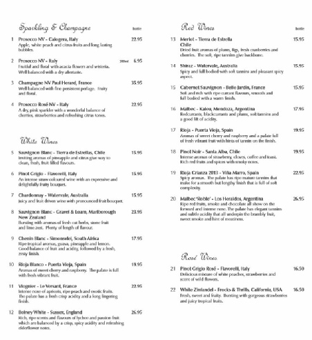Wine and Gin List
